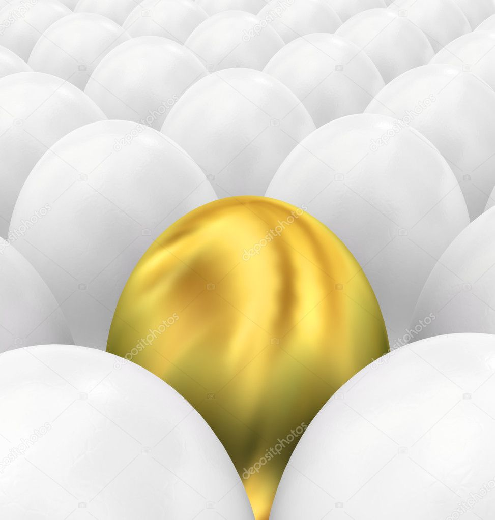 Golden Easter Egg between whites — Stock Photo #10428572