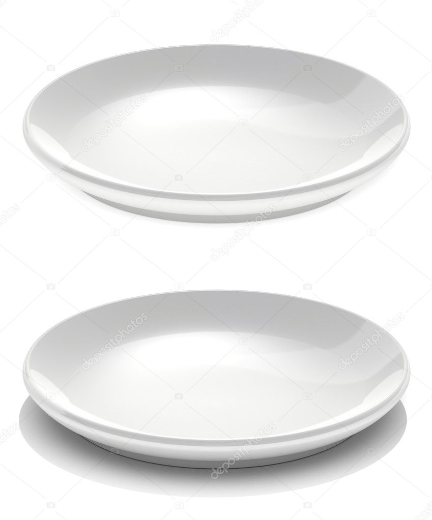 Two dishes isolated on white background  Stock Photo #10428602