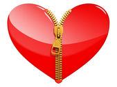 Serce z zamkiem błyskawicznym — Zdjęcie stockowe