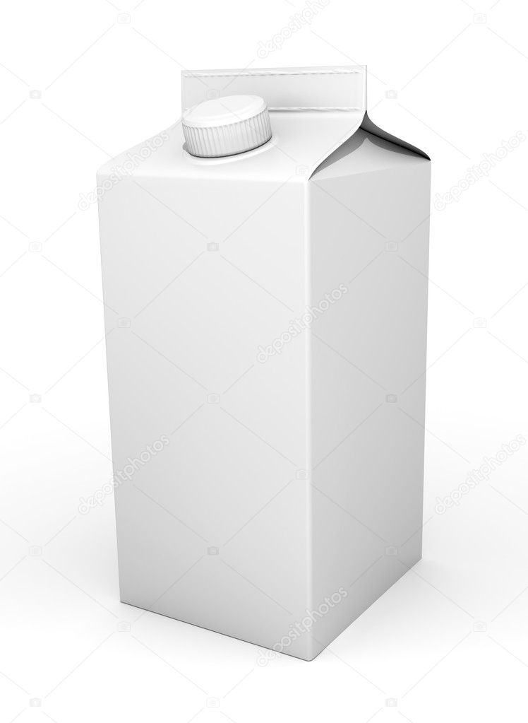 3d Milk packaging - isolated on white background — Stockfoto #10442844