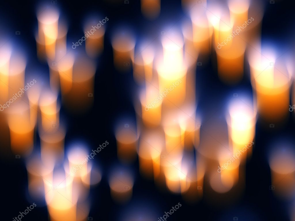 Abstract orange and yellow candle light  in  blue background — Photo #10442869