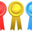 Award ribbon rosette - Stock Photo