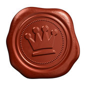 Wax seal with crown stamp — 图库照片