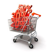 Shopping cart full percentage of discount — Stock Photo