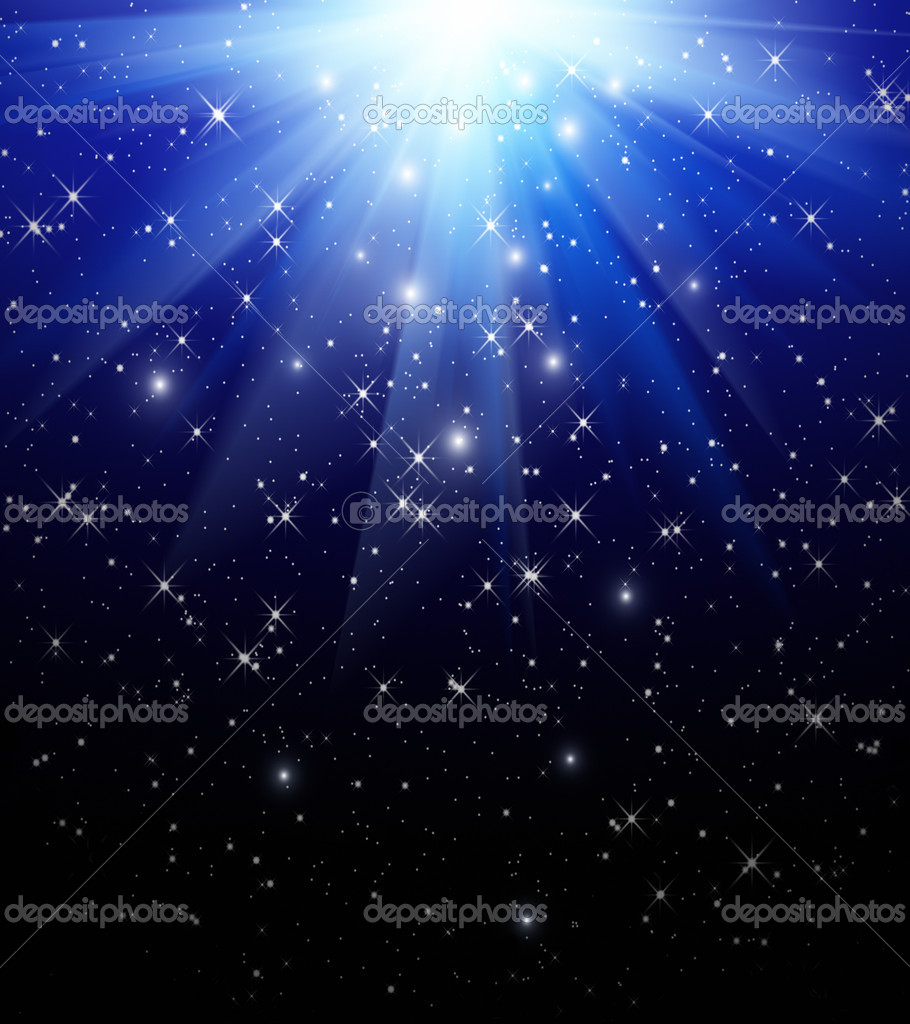 Stars are falling on the background of blue rays — Stock Photo #10486848