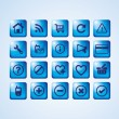 Stock Vector: Glossy blue icon set for web