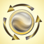 Golden arrows reload circle — Stock Vector