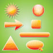 Orange textured icon set with shadow — Stock Vector