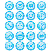 Glossy blue icon set for web websites — Stock Vector