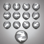 Metallic silver arrow icon set — Stock Vector
