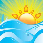 Summer ocean and sun background — Stock Vector