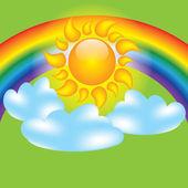 Letní návrhové prvky slunce mraky duha — Stock vektor