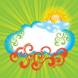 Summer background with sun and cloud — Stock Vector