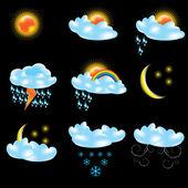 Vettoriale icone previsioni meteo — Vettoriale Stock