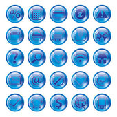 Glossy blue icon set for web — Stock Vector