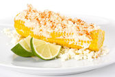 Corn with Cheese and Lime. — Stock Photo