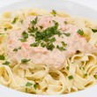 Salmon Pasta — Stock Photo