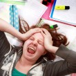 Teenage exam stress - Stock Photo