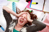 Teenage exam stress — Stockfoto