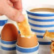 Dipping toast into a boiled egg — Foto Stock