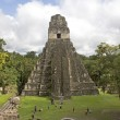 Jaguar Pyramid at cloudy sky, the biggest pyramid in Tikal, Guatemala — Stock Photo