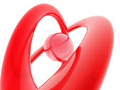 Digital red colored heart isolate — Stock Photo