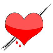 Illustration of arrow penetrating Valentines heart isolated on white background — Stock Photo