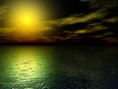 Digital illustration of rain on sunset at evening — Stock Photo