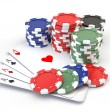 Gambling Chips And Playing Cards — Stock Photo