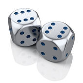 Two metal dices — Stock Photo