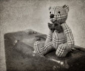 Vintage style teddy bear and suitcase — Stock Photo