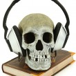 Audiobook Concept Human Skull with Headset on Book — Stock Photo