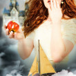 Actress Playing Snow White in a Fantasy Poster Style Portrait - Stock Photo