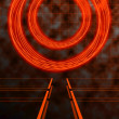 Abstract Matrix or Tron Style Background in Orange and Black - Stock Photo