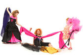 Pageant Girls Fighting Over Fabric and Dress Designer — Stock Photo