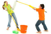 Spring Cleaning Kids with Boy Putting Mop in Girls Face — Stok fotoğraf