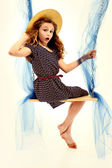 Adorable Retro Style Child Portrait Girl on Swing — Stok fotoğraf
