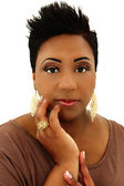 Beautiful Black Woman with Spiked Hair and Manicure — Stock Photo