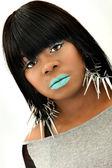 Beautiful Black Woman with Blue Lipstick — Stock Photo