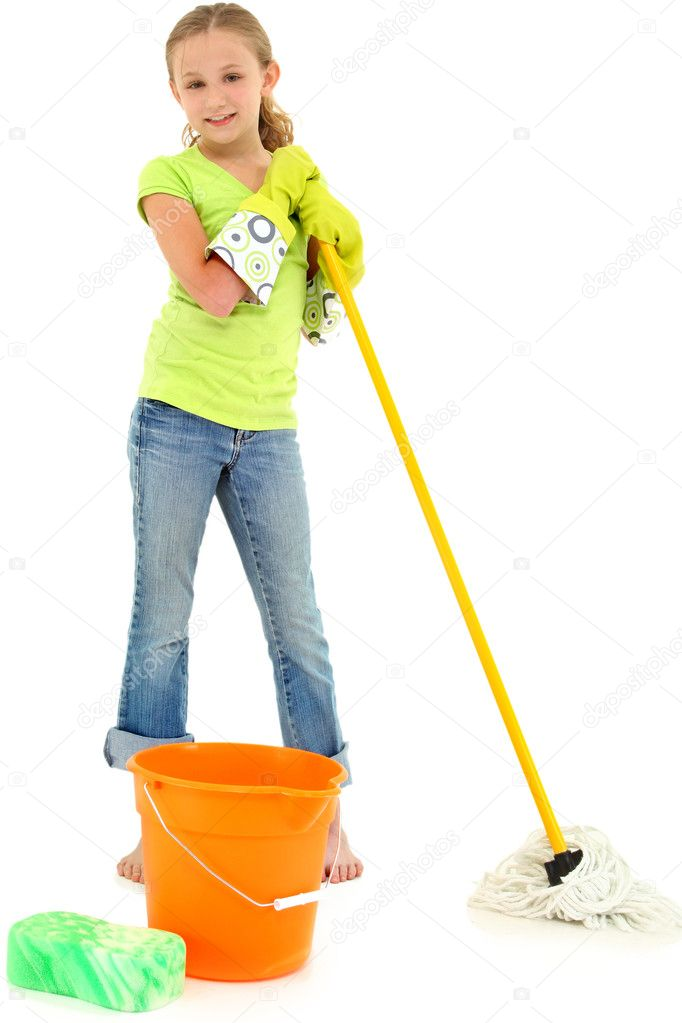 Beautiful Young Girl Doing Spring Cleaning Chores with Mop and Bucket barefoot over white background. — Stock Photo #10553826