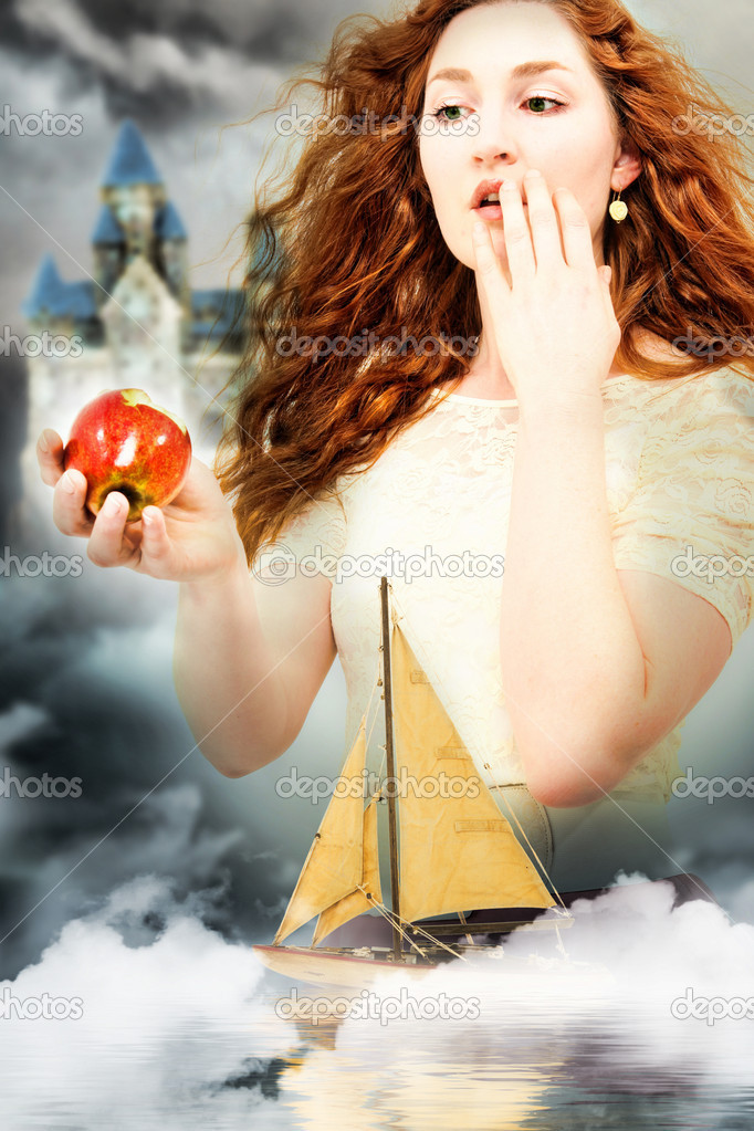 Beautiful Young Woman Actress Playing Snow White in a Fantasy Poster Style Portrait  Stock Photo #10553873