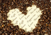 Heart made with coffee beans — Stock Photo
