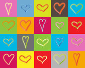 Card with different hearts — Stock Photo