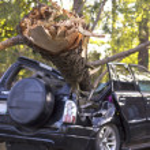 Tornado Damaged Car — Stock Photo