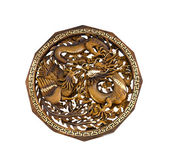 Ornamento scolpito decorativo del legno teak — Foto Stock