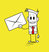 квадратный парень конверт — Cтоковый вектор