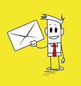 Vierkante man-envelop — Stockvector