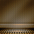 Gold Metal Hex Grid Background — Stock Photo