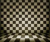 セピア色のチェス盤の部屋の背景 — ストック写真