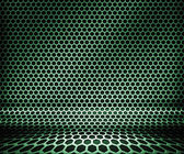 Green Metal Hex Grid Background — Stock Photo